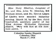columbus sunday dispatch - march 17 1918 - marriage of mary riordan and ernest limes - with text and frame
