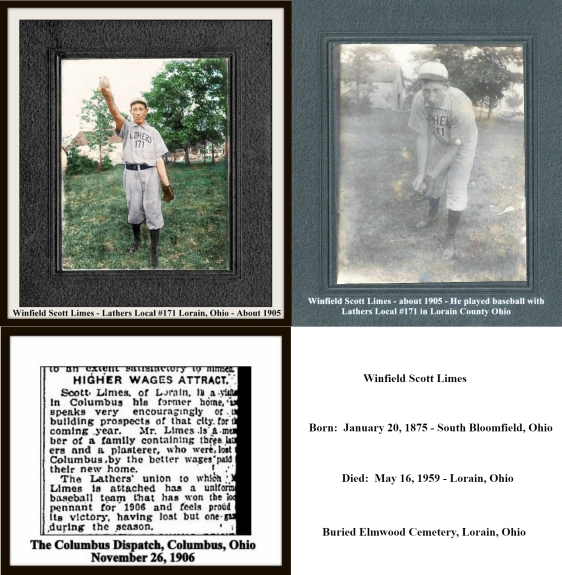 scott limes collage of 1906 columbus dispatch story and lather baseball photos - 3