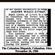 scott limes - columbus dispatch - november 26 1906 - better wages attract with text and frame