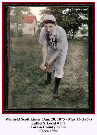 winfield scott limes local 171 baseball in bent position - restored & colorized - 1-23-2019 with text and frame - new