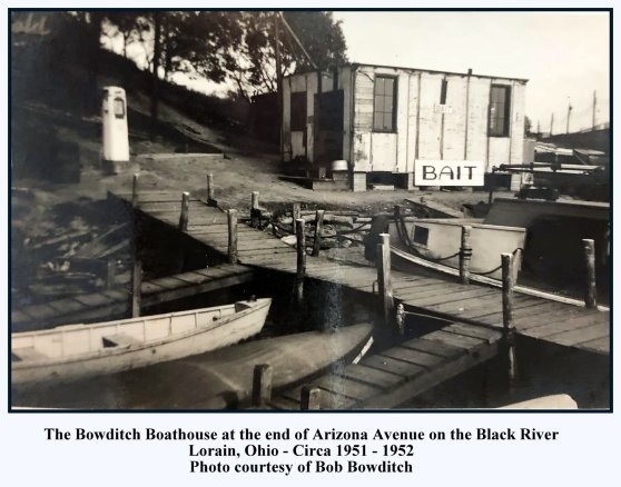 BOB BOWDITCH BOATHOUSE - 1951 - 1952 FROM BOB BOWDITCH - WITH TEXT AND FRAME