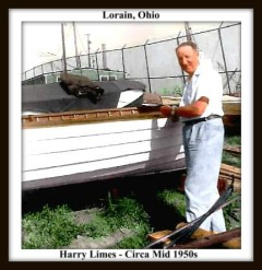 HARRY LIMES BY SMALL BOAT AT THE END OF ARIZONA AVENUE - CIRCA 1950S - WITH TEXT AND FRAME