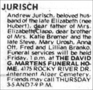 ANDREW JURISCH - FEB 20 1977 - CLEVELAND PRESS - PAGE E4 - BRO TO ANNA JURISCH OTT MOTHER OF MICHAEL SHERWOOD