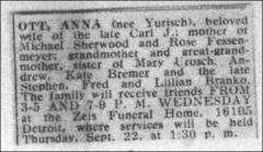 ANNA JURISCH OTT - SEPTEMBER 21 1960 OBITUARY - CLEVELAND PRESS - MOTHER OF MICHAEL SHERWOOD