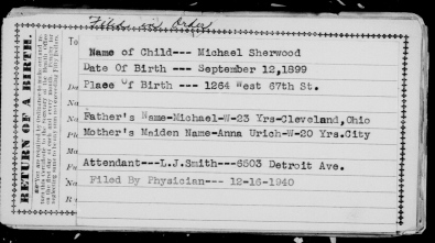 BIRTH RECORD DELAYED FOR MICHAEL SHERWOOD