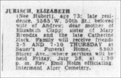 ELIZABETH JURISCH - JULY 27 1961 - CLEVELAND PLAIN DEALER - PAGE E4 - WIFE - ANDREW JURISCH BRO OF ANNA OTT MOTHER - MICHAEL SHERWOOD