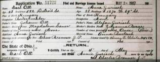 MARRIAGE RECORD OF ANNA JURISCH TO CARL OTT - MAY 4 1907 - CUYAHOGA COUNTY OHIO