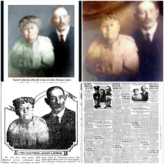 JOHN AND SARAH LIMES 1923 PHOTO COLLAGE OF 4 PHOTOS