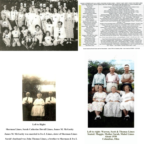 SARAH DUVALL LIMES & SOME OF HER DESCENDANTS CIRCA 1934 - 4 PHOTOS & NAMES FOR THE NUMBERS SIDE BY SIDE-2