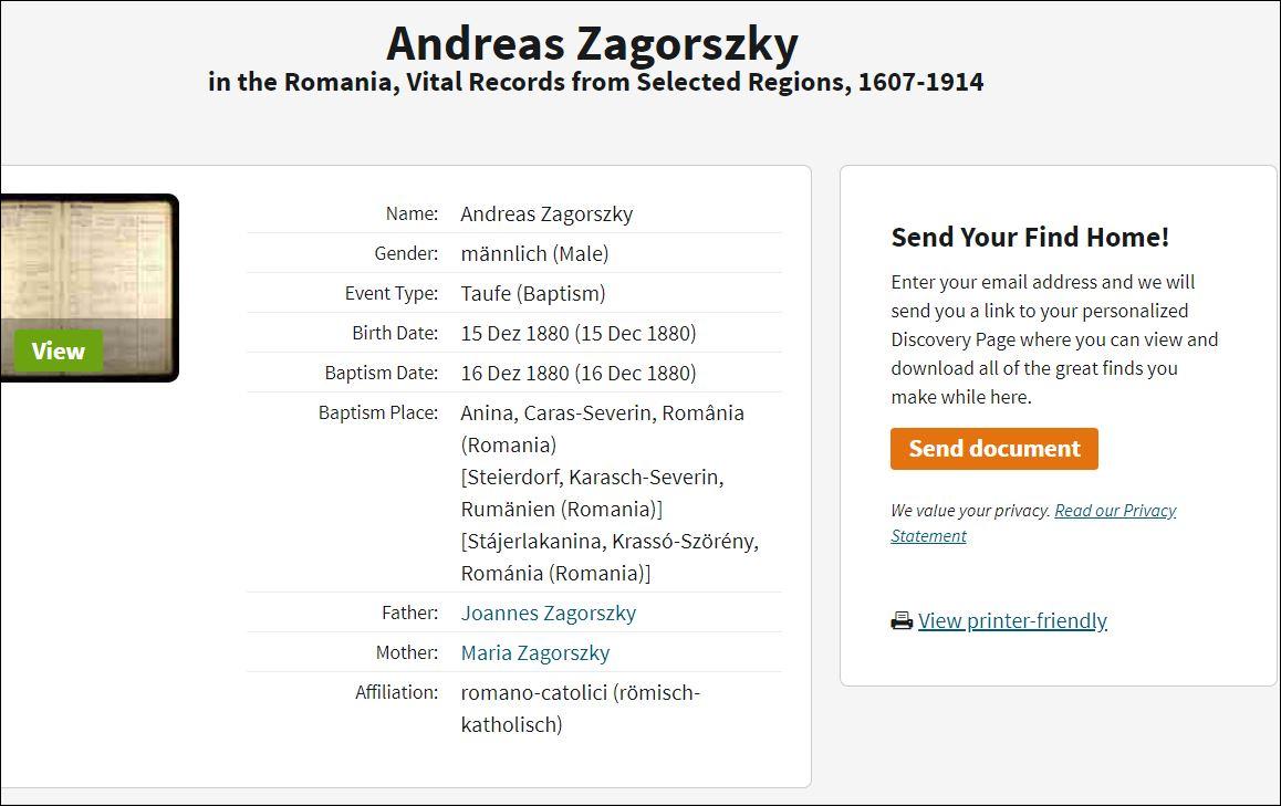 ANDREAS ZAGORSKY AKA ZAGORSZKY BAPTISM RECORD DECEMBER 16 1880 ANINA ROMANIA - FATHER JOANNES - MOTHER MARIA