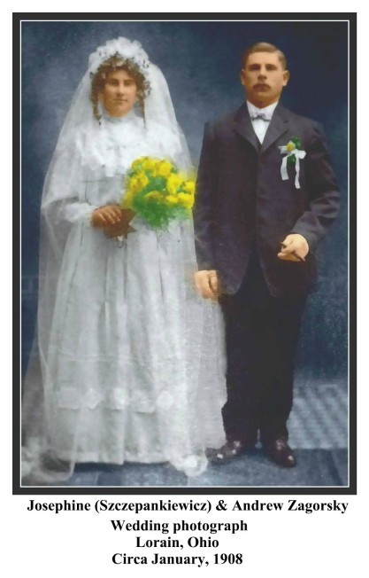 Andrew and Josephine Zagorsky wedding photograph in color with Text and Frame