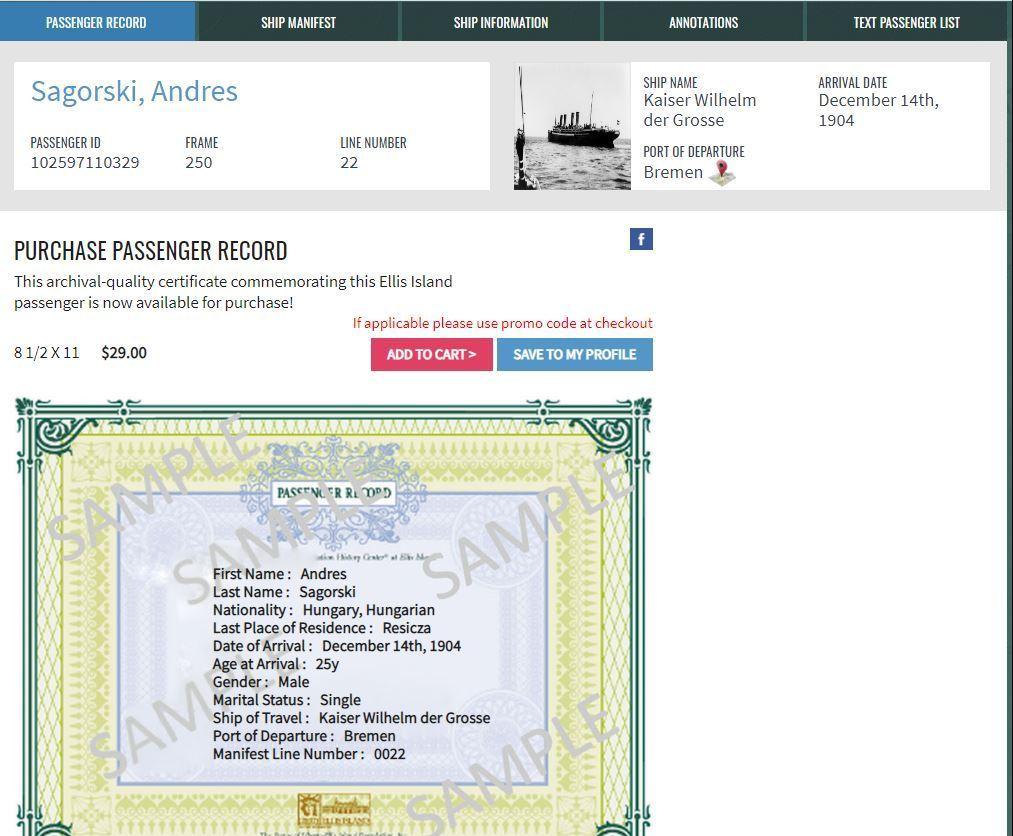 ANDREW ZAGORSKY ANDREAS SAGORSKI - ELLIS ISLAND SCREEN PRINT SHOWING ADRES SAGORSKI