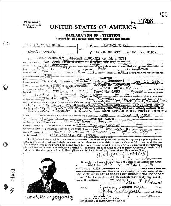 ANDREW ZAGORSKY DECLARATION OF INTENTION - JANUARY 3 1935 - Page 2