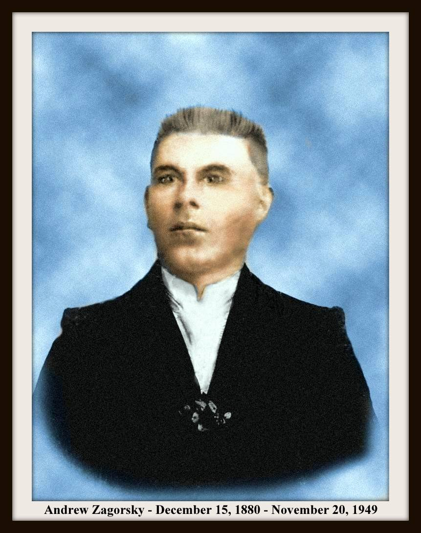 Andrew Zagorsky - early photograph restored & colored - 3-30-2015 - WITH TEXT AND FRAME