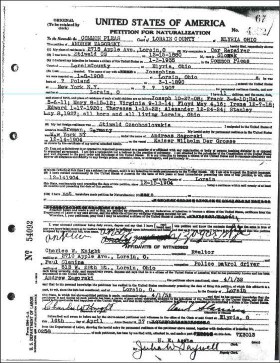 ANDREW ZAGORSKY NATURALIZATION - APRIL 16 1937