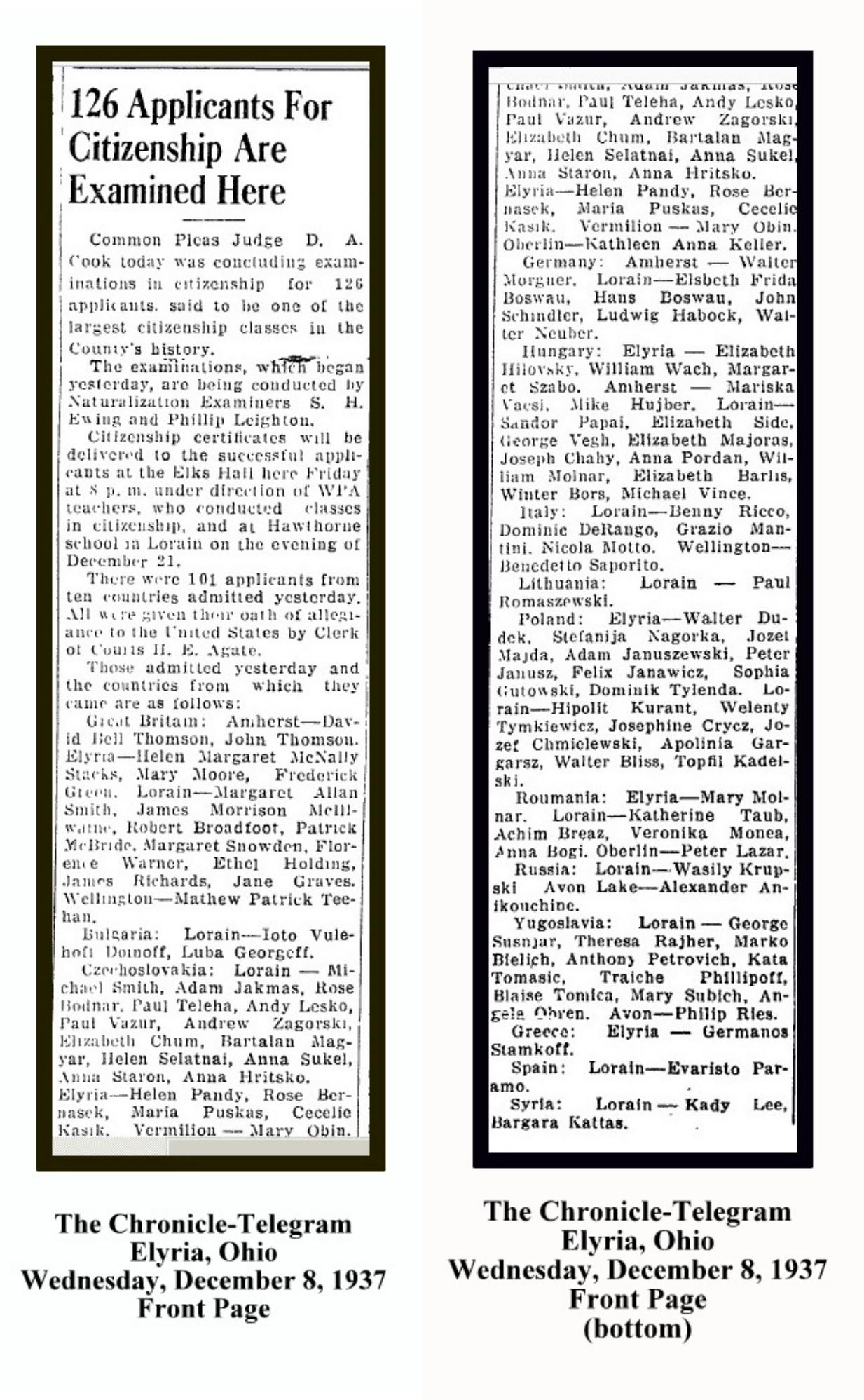 ANDREW ZAKORSKI NATURALIZATION - DECEMBER 8 1937