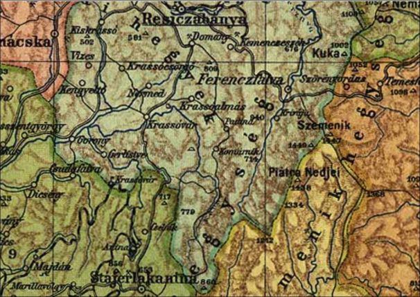 RESICZABANYA TO STAJERLAKANINA IN CARAS-SEVERIN COUNTY ROMANIA - MAP 1910 - RESICA AND ANINA