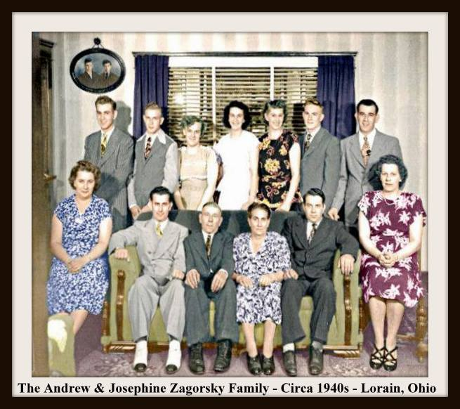 ZAGORSKY FAMILY 1940S COLORIZED & WITH FRAME & TEXT