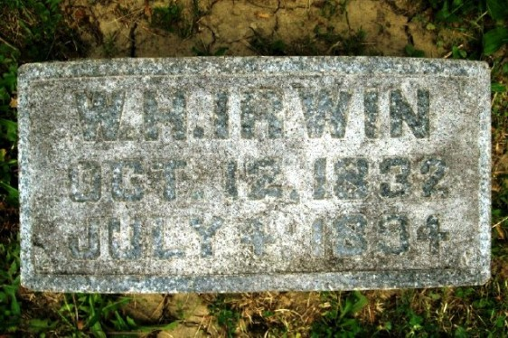W H IRWIN GRAVE MARKER - GREENFIELD CEMETERY GREENFIELD OHIO DIED 1894